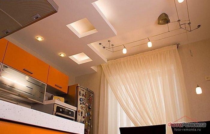 Потолки из гипсокартона фото для кухни своими руками простые