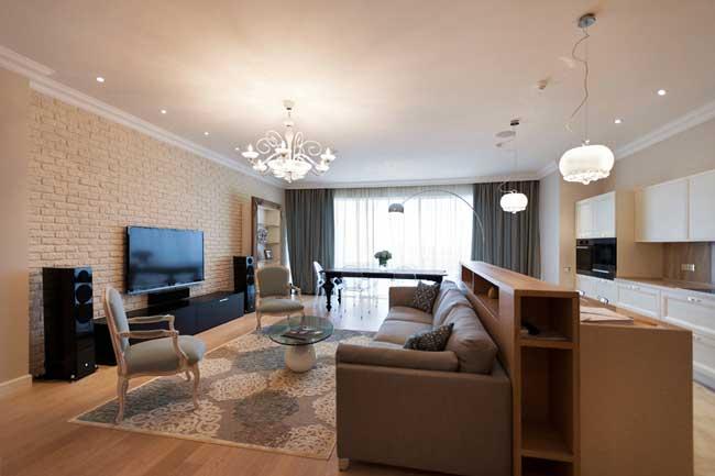 Дизайн интерьера гостиной совмещенной с кухней