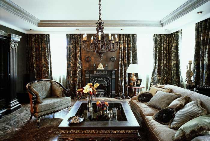 Классический интерьер гостиной. Темные цвета
