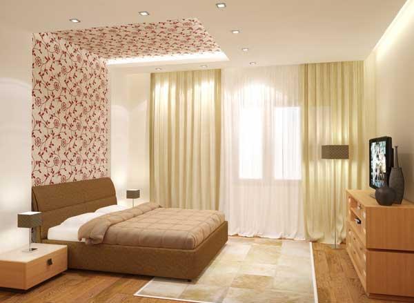 Зонирование спальни с помощью комбинирования обоев