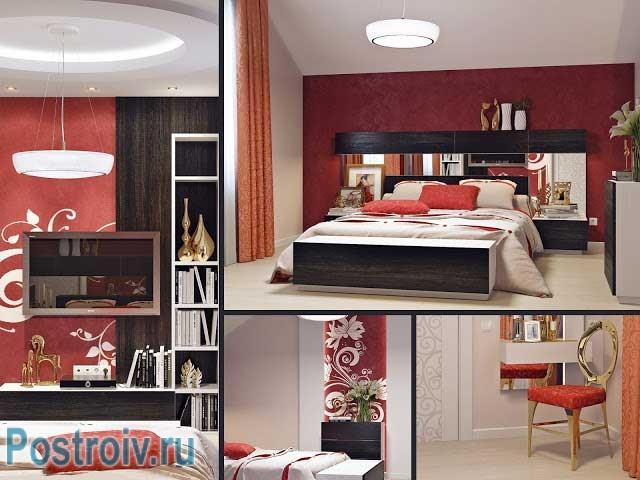 Комбинированные обои в спальне от design by rusu ruslan