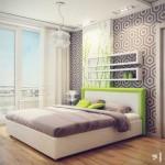 Сочетание зеленого цвета с черным в спальне