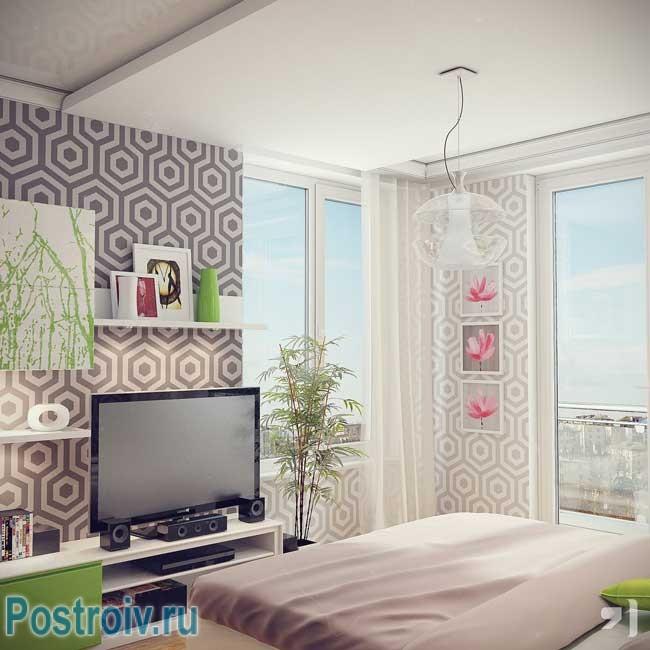 Дизайн комбинированных обоев в гостиной