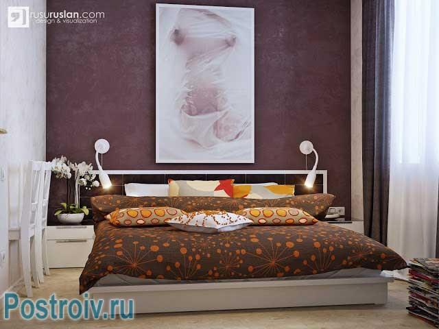 Второй вариант комбинации обоев в спальне