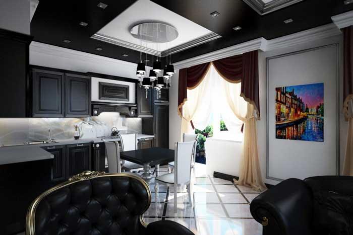 Черный цвет в интерьере кухни студии 2014