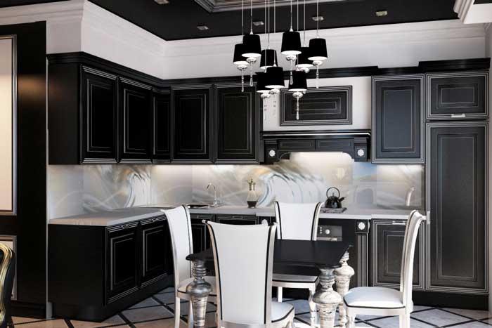 Встроенная кухонная техника. Черный цвет в интерьере
