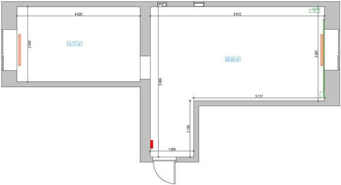 Первоначальный план двухкомнатной квартиры