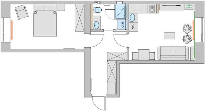 План перепланировки двухкомнатной квартиры с использованием кирпичных перегородок