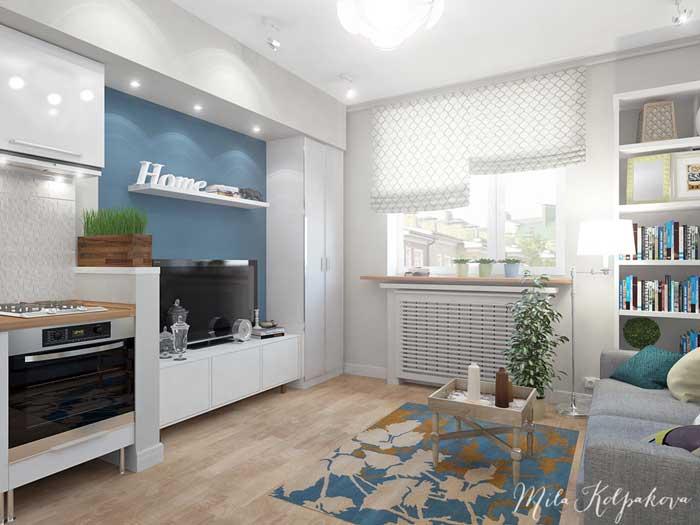 Маленькая гостиная, совмещенная с кухней в светлых тонах