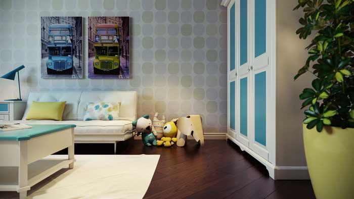 Белый шкаф с голубыми вставками в детской комнате для мальчика