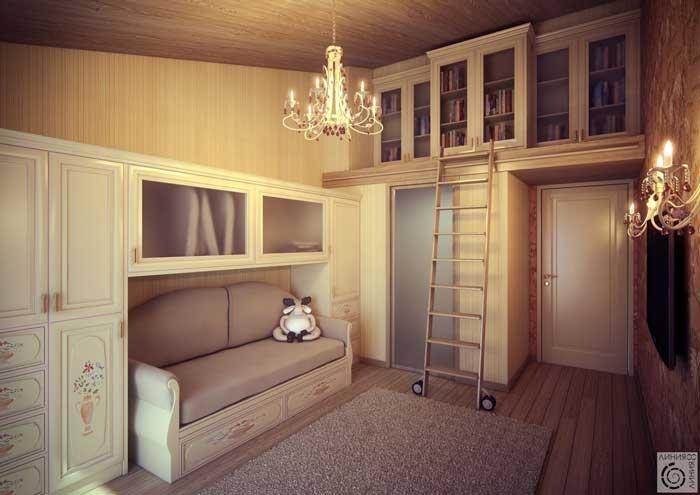 Детская спальня, дизайн для девочки в классическом стиле