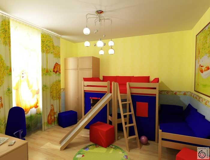 Дизайн детской комнаты для двух детей. 6, 7, 8 лет. Стены желтого цвета