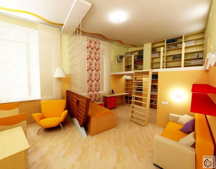 Дизайн детской комнаты для мальчика и девочки 9, 10 лет. Оранжевая мебель