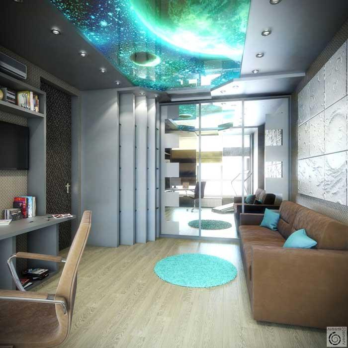 Детская комната для подростка мальчика или девочки в серых тонах со встроенным шкафом купе и натяжным потолком