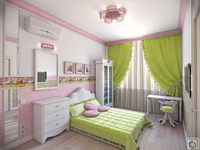 Детская комната для маленькой девочки. Розовый домик для принцессы. Мебель белого цвета