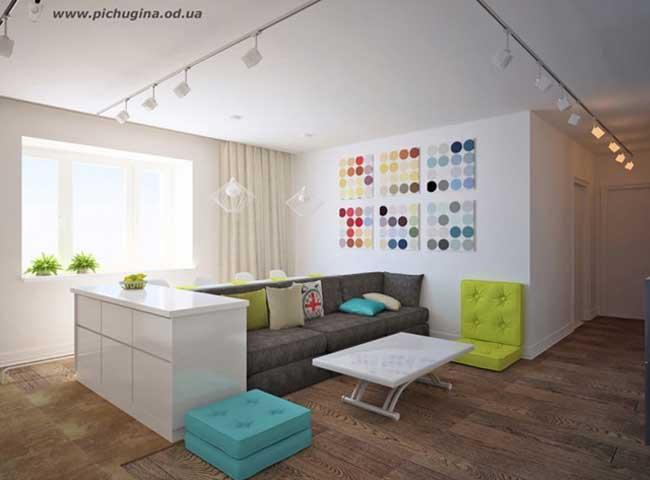 Дизайн гостиной кухни в скандинавском стиле. Недорогой вариант ремонта