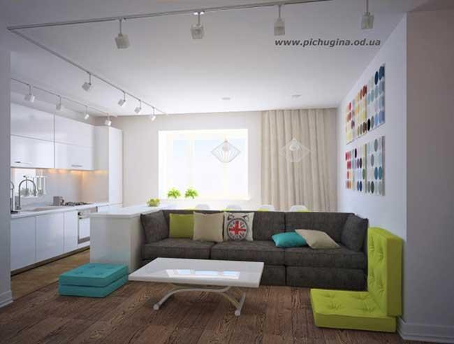 Мебель для кухни белого цвета. Скандинавский стиль в интерьере гостиной кухни