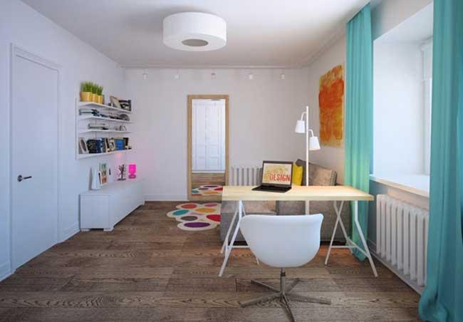 Голубые шторы в дизайне комнаты. Недорогая мебель из IKEA