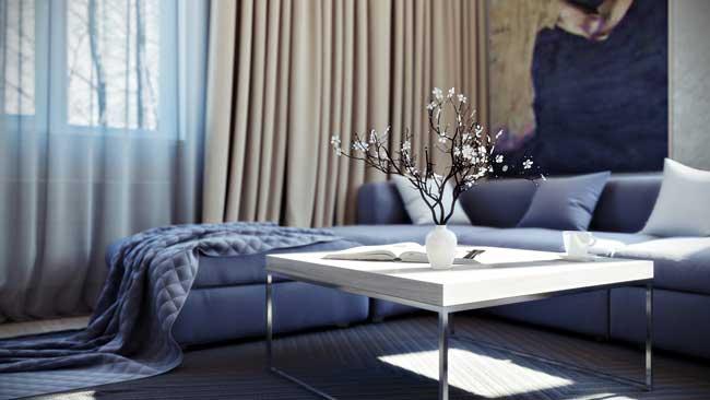 Синий угловой диван в современном дизайне хрущевки