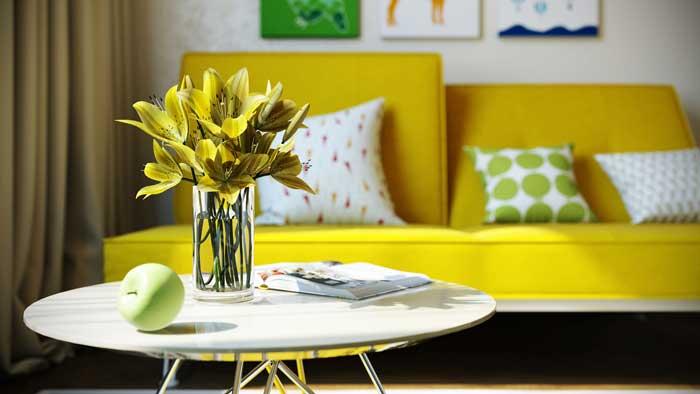 Дизайн комнаты для подростка с подвесным потолком из гипсокартона и точечными светильниками