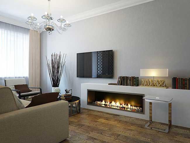 Дизайн гостиной с декоративным камином. Стены серого цвета