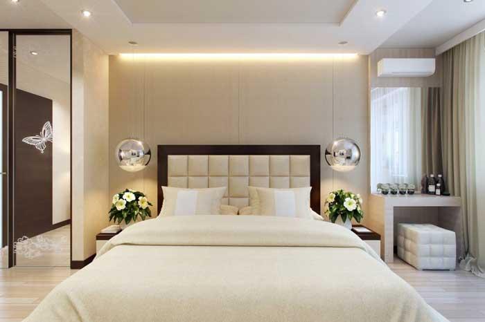 Идея интерьера спальни кремового цвета. Дизайн большой спальни