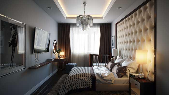 Спальня со встроенным шкафом и белым подвесным потолком из гипсокартона
