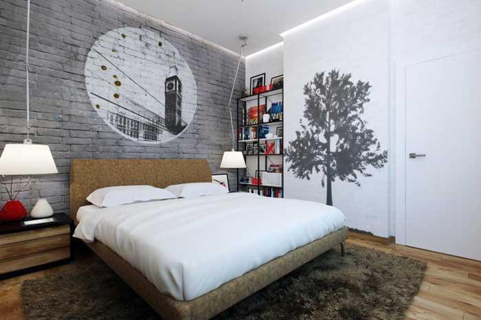 Декорирование стен в спальне. Рисунок на белой стене