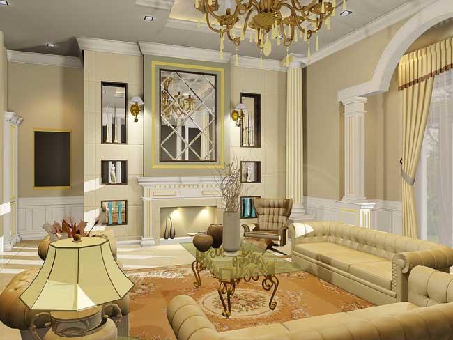 Дизайн гостиной в классическом стиле в светлых тонах