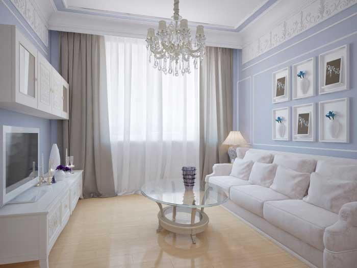 Маленькая гостиная в классическом стиле после ремонта