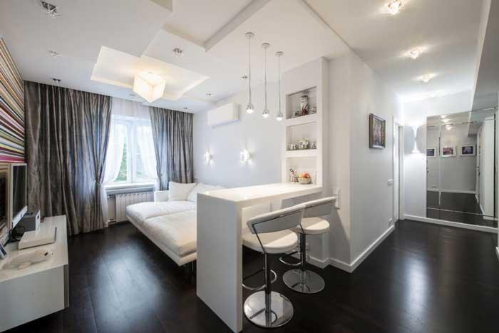 Оформление двухкомнатной квартиры с совмещенной гостиной и кухней
