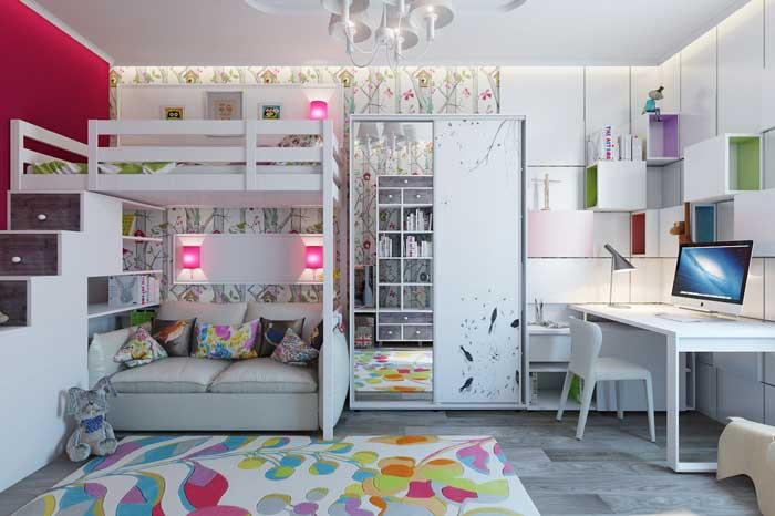 Детская комната для девочек с двухъярусной кроватью и шкафом купе