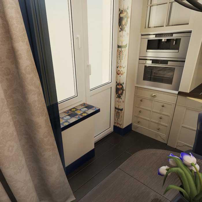 Встраиваемая техника на кухне. Темный паркет на полу кухни