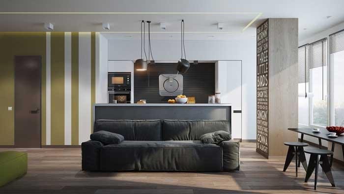 Кухня совмещенная с гостиной в квартире студии