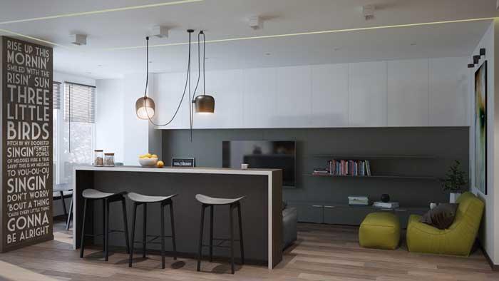 Дизайн гостиной в квартире студии с барной стойкой