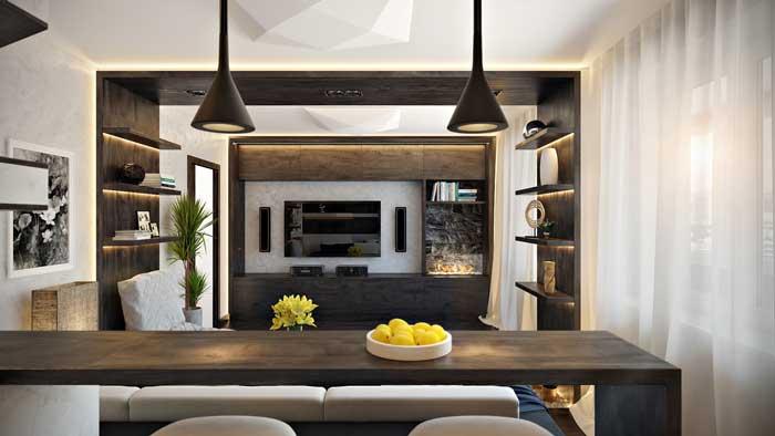 Дизайн интерьера гостиной в стиле Hi-tech в квартире