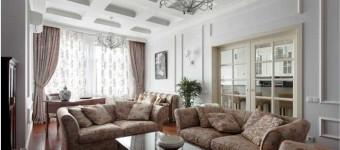 Интерьер в классическом стиле большой гостиной 2014