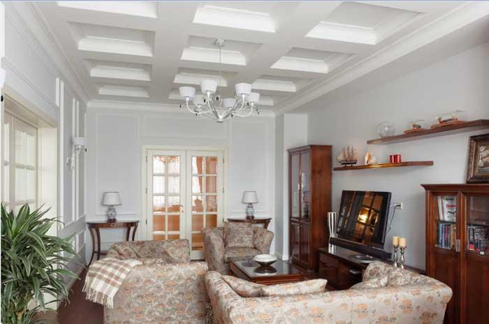 Гостиная в классическом стиле. Гипсокартонный потолок