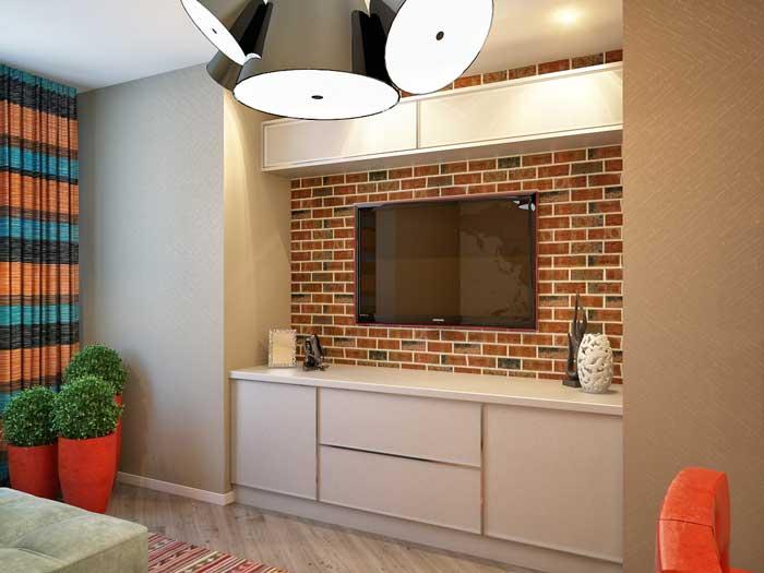 Декорирование стены под кирпич в гостиной