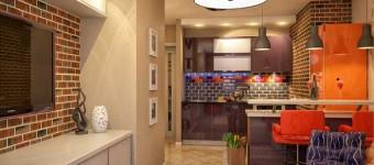 Дизайн яркой квартиры студии для молодого человека