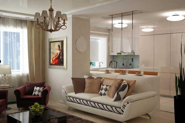 Дизайн гостиной в современном стиле в двухкомнатной квартире