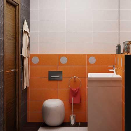 Дизайн ванной оранжевого цвета