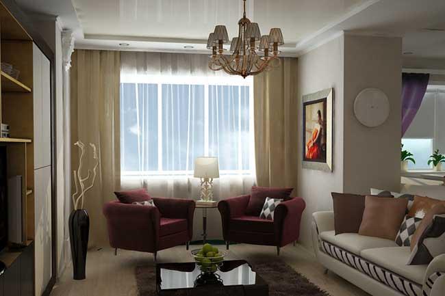 Дизайн штор в гостиной. Красные кресла. Декорирование стен