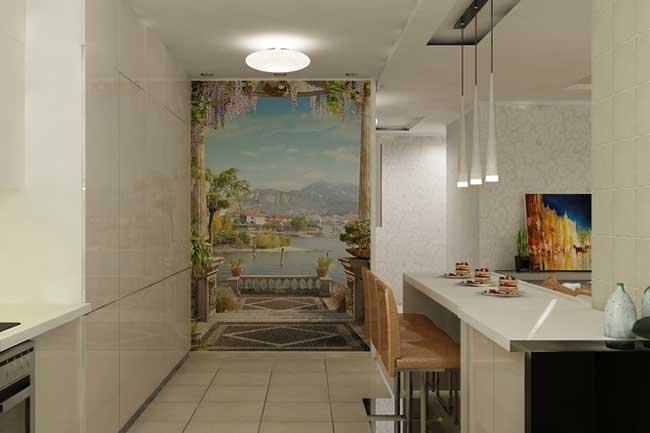 Декорирование стены на кухне. Дизайн двухкомнатной квартиры