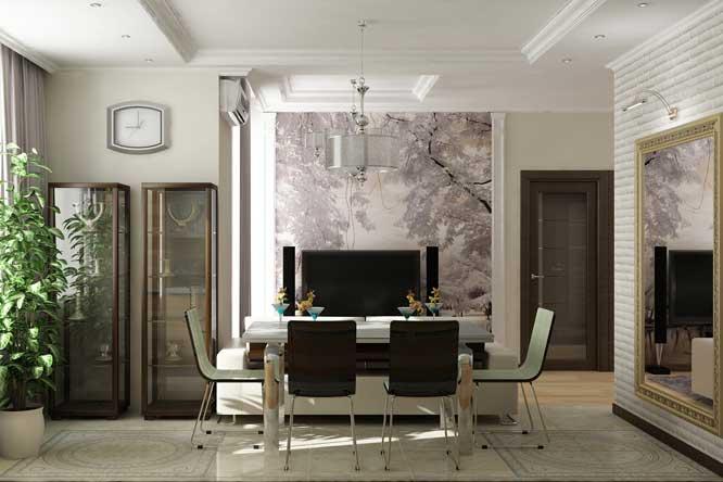 Гостиная совмещенная с кухней с большим зеркалом. Гипсокартонный потолок дизайн