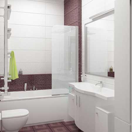 Ванная отделанная широкой плиткой. На стене большое зеркало.