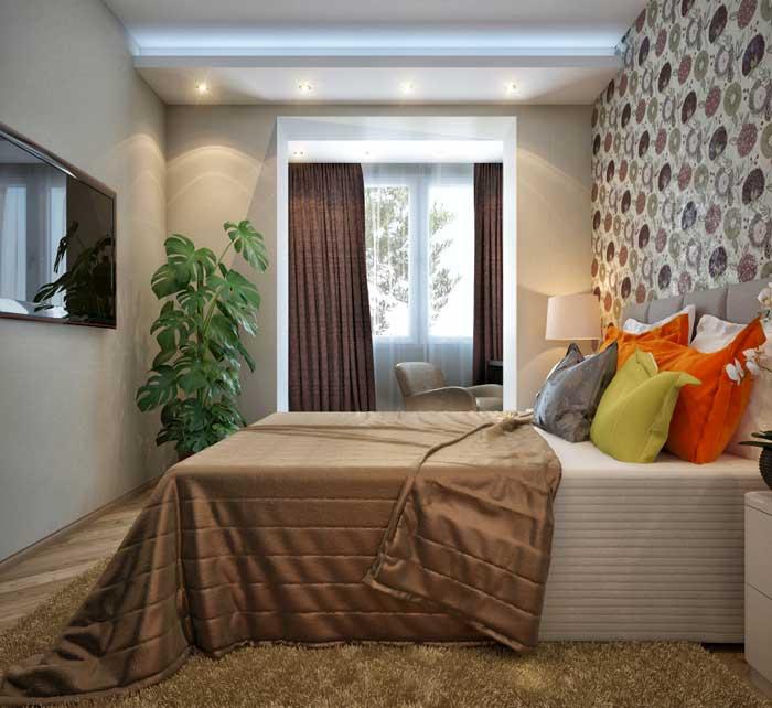 Интерьер спальни в маленькой квартире. Недорогой вариант
