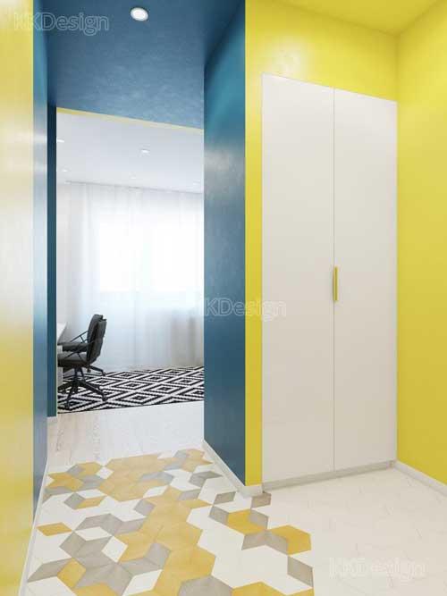 Дизайн коридора в однокомнатной квартире студии со встроенным шкафом