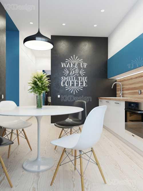 Интерьер кухня столовой в стиле минимализм