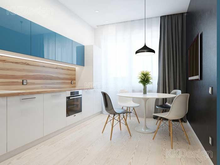 Интерьер кухни столовой в квартире студии